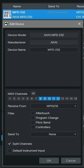 Akai MPD 232 in External Settings