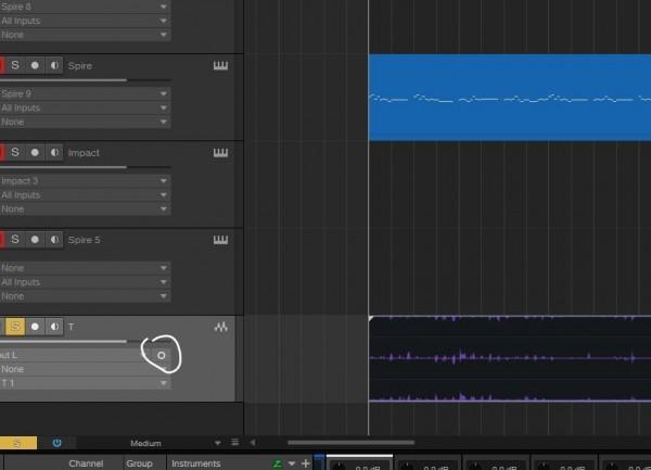 Studio One 5 Audio Clip mono button