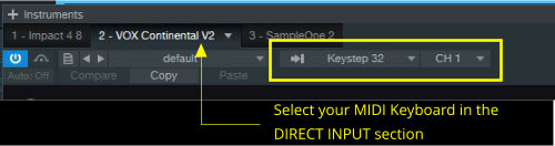 Direct Input area in the plug-in bar