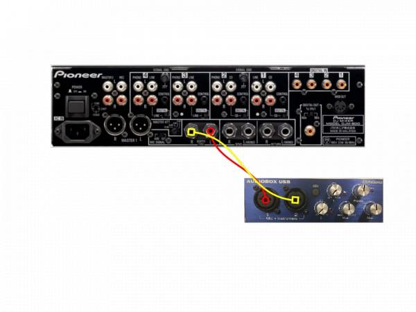 Pioneer DJM-800 connected to AudioBox USB