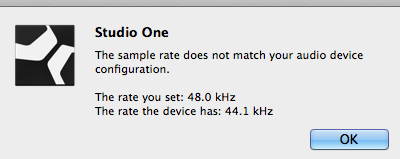 Unable to move from 44 1khz to 48khz in Studio One 3