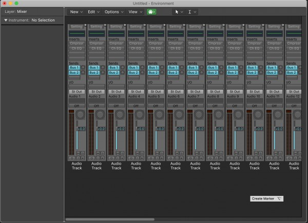 Logic X MIDI Environment Window Default View for Studio 192