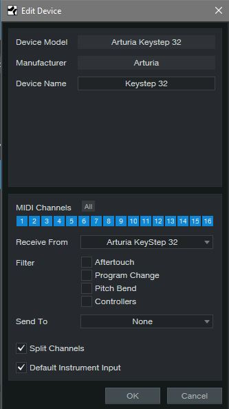 Control your MIDI output in Options - External Devices